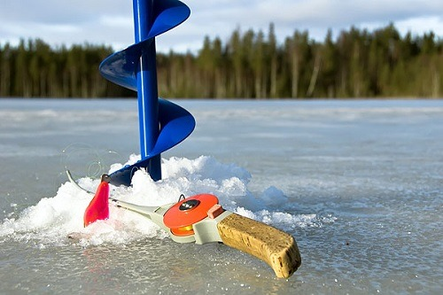 Drilling A Hole For Ice Fishing