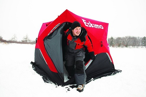 Guy Using Eskimo FF949 FatFish Pop-up Portable Ice Shelter