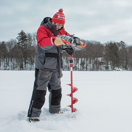 Guy Using Eskimo Mako 43cc Quantum Ice Auger